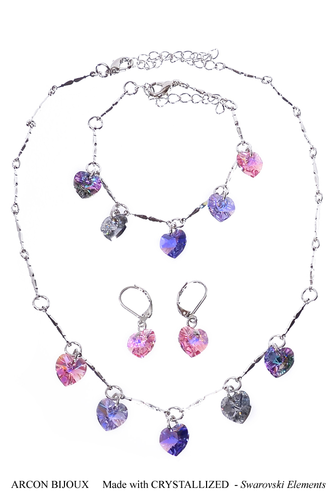 Set Swarovski Elements srdíčka SWSETSRD1X-102
